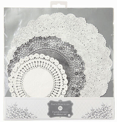 24 x Silver & White Paper Doilies - Silver Wedding 25th Anniversary Tea Party