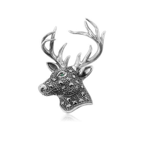 Gemondo Sterling Silver Emerald & Marcasite Stag Brooch