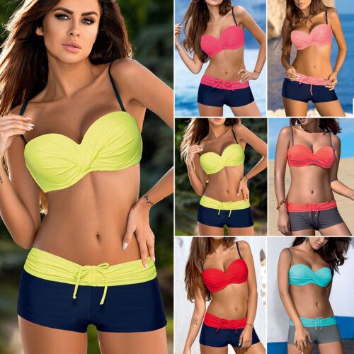 Women Two Piece Bikini Set with Surfing Boy Shorts Swimwear Swimsuit UK Sizes 12