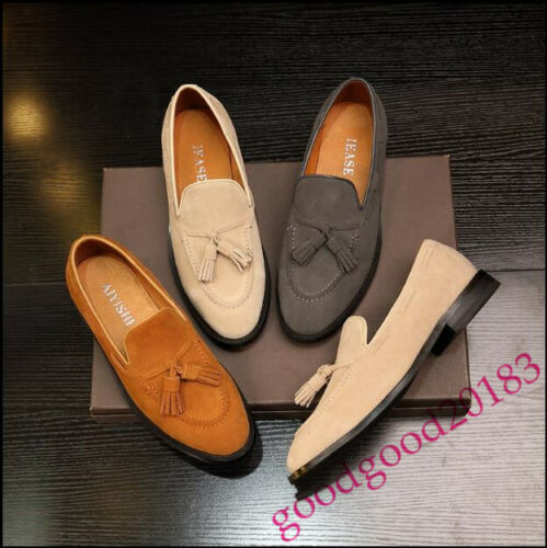 Mens Pull in con on Shoes Nappe punta a scamosciata Dress Mocassini New Cool Chic pelle Stylish punta gFwxRdq4