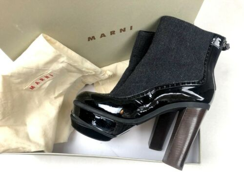 Marni Womens 9.5 Ankle Boots Booties Mixed Patent