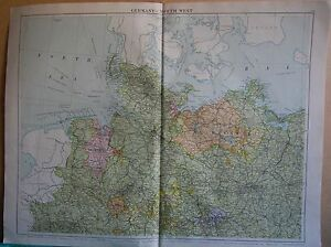 1919 LARGE MAP EUROPEGERMANY NORTH WEST BERLIHANOVERBREMEN