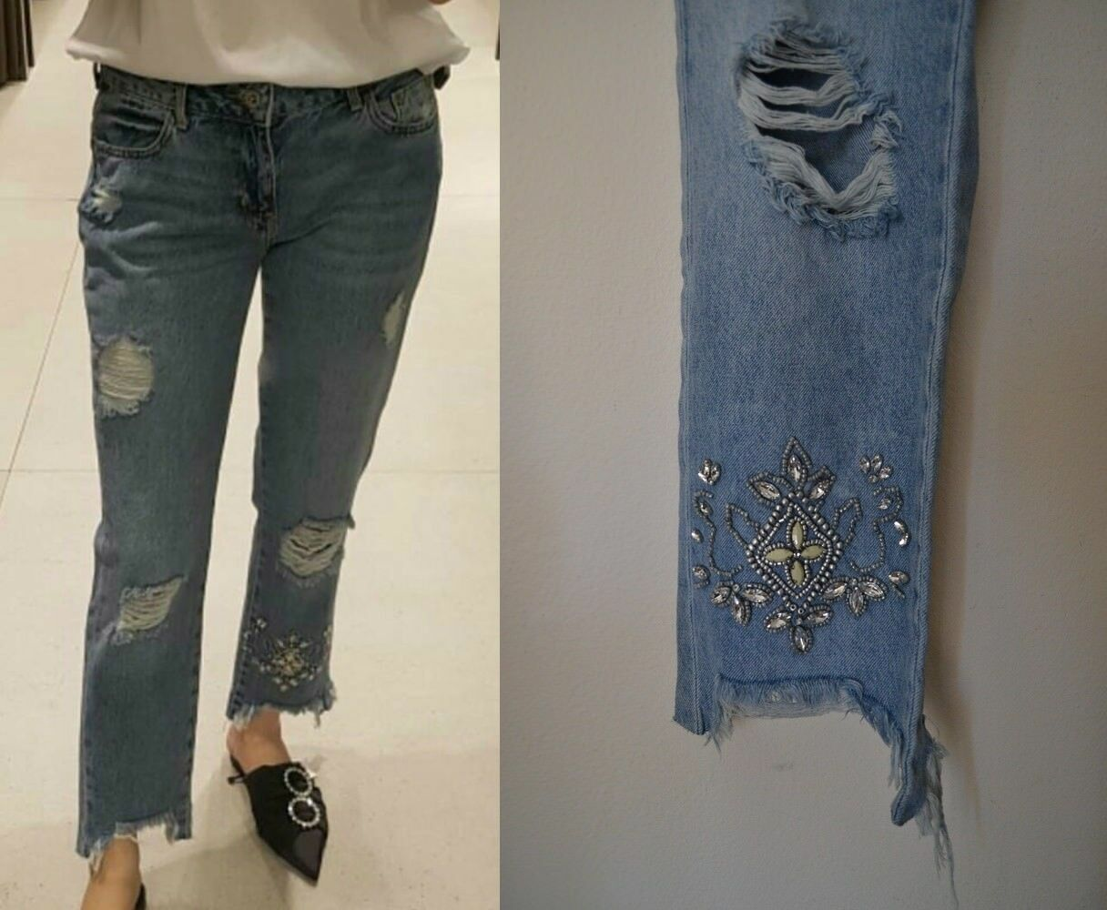 ZARA WOMAN SS17 MID-blueE EMBROIDERED BEJEWELLED JEANS REF 6164 180 SIZE
