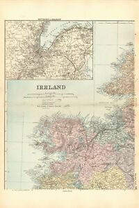 Full Map Of Ireland.1891 Antique Map Ireland Full Country On 4 Maps Ebay