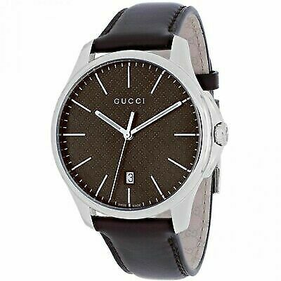 211cbadef52 Gucci YA126318 G-timeless Brown Quartz Leather Watch Retail for sale online