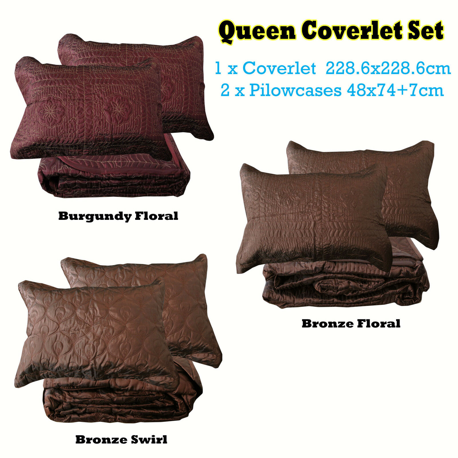 3 Pce QUEEN Faux Silk Quilted Embroidery Bedspread   Coverlet + 2 Pillowcases