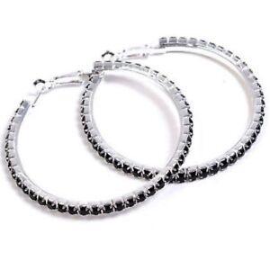 Black Diamonte / Diamante 1 Row Hoop Earrings 4cm NEW!!!