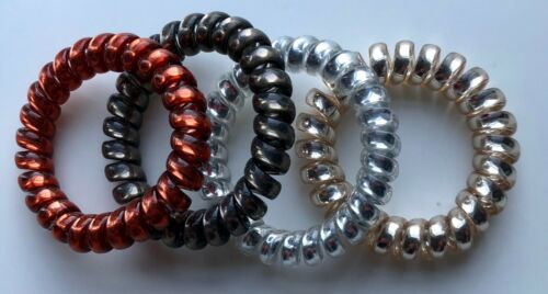 Spiral Coil Wire Hair Bands//Bobbles-Mixed 4 Pack Metallic Metal Colours 5cm