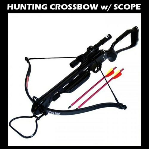 NEW 150 LB ARCHERY HUNTING Gun BLACK PISTOL CROSSBOW W ARROWS BOLTS XBOW w SCOPE