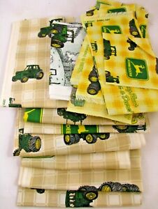 Lot-John-Deere-Tractor-Cotton-Quilt-Fabric-Pieces-Strips-Check-Tan-Yellow-Green