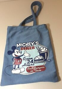 DISNEY-MICKEY-MOUSE-WALT-LARGE-PURSE-TOTE-BAG-MICKEY-039-S-CAFE-BLUE-BEST-BURGERS