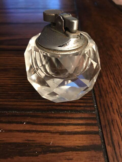 Vintage Cut Crystal Table Top• Desk CIGARETTE LIGHTER