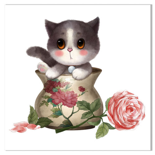 Modern Cute Cat Canvas Art Painting Poster Kids Room Picture Wall Home Decor