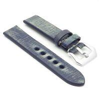 Strapsco Distressed Vintage Blue Leather Watch Mens Strap W/ Silver Pre V Buckle