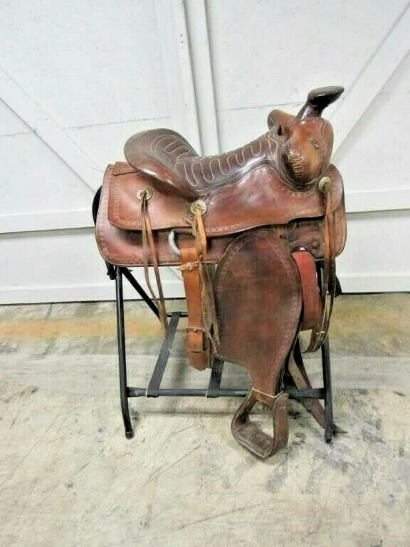 ACTION  HORSE SADDLE LEATHER WESTERN HORSE SADDLE PLEASURE TRAIL RANCH  order now