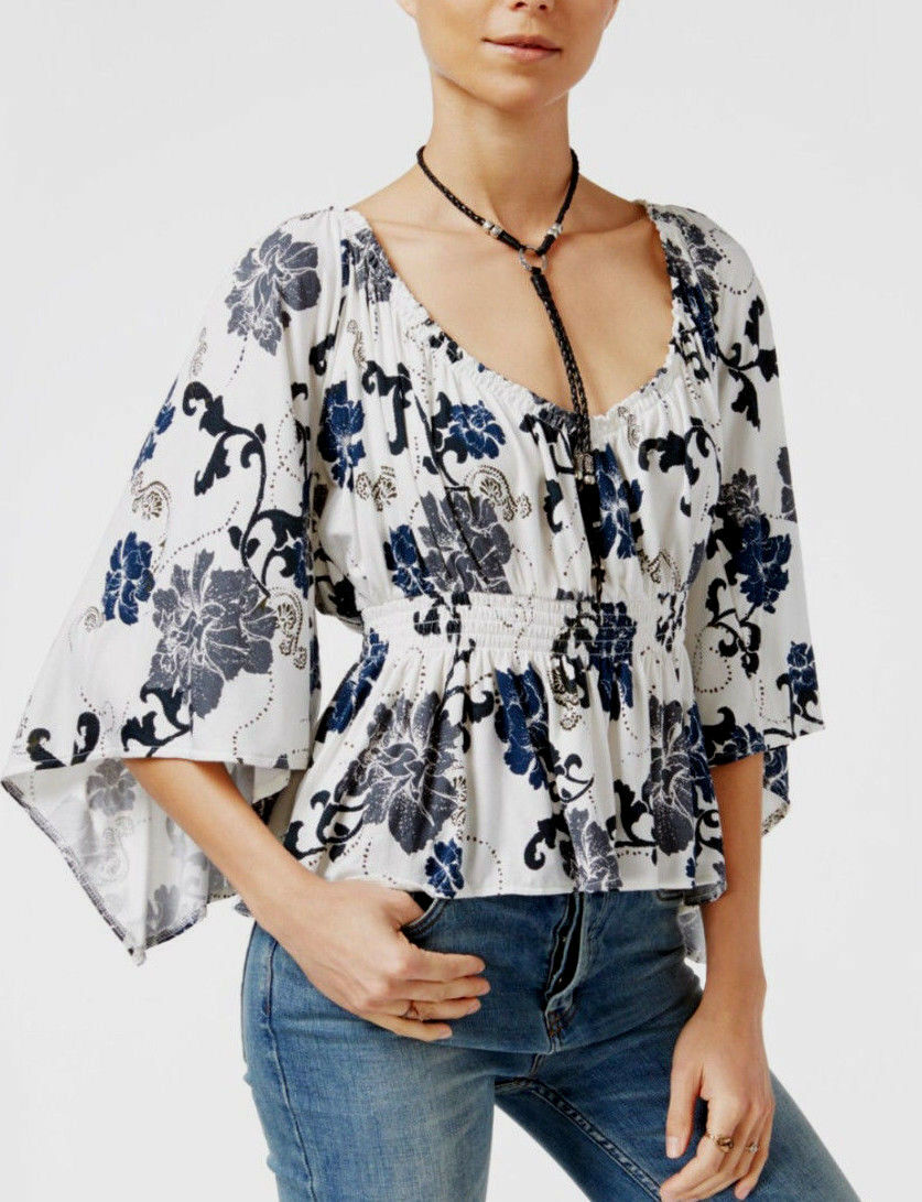 Free People OB550993 Glenside Floral Print, Breezy 3 4 Length Sleeve Top Ivory