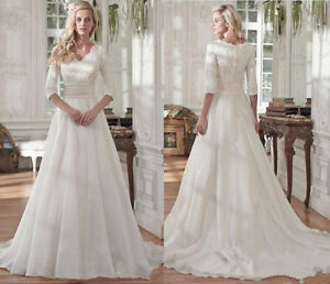 Image Is Loading New Modest White Ivory Wedding Dress Pleats Lace