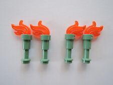 Lego 4 x Teleskop 64644 sandgrün + Flamme 64647 tr. neon orange = Fackel  NEU