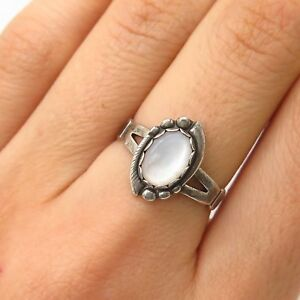 Antq 925 Sterling Silver Mother Of Pearl Ring Size 7 Retro, Vintage 1930s-1980s
