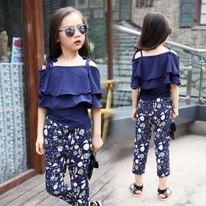 2pcs-Kids-Baby-Girls-Fashion-Suit-Off-Shoulder-Blouse-Floral-Pants-Set-Clothes