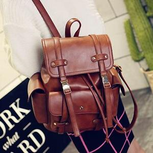 Womens-Vintage-Leather-Large-Double-Strap-Backpack-Casual-Travel-Bags-College-sz