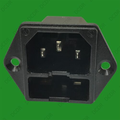 Kettle Lead Rewireable 1x Fused IEC Male Panel Chasis Mount Socket 250V 10A