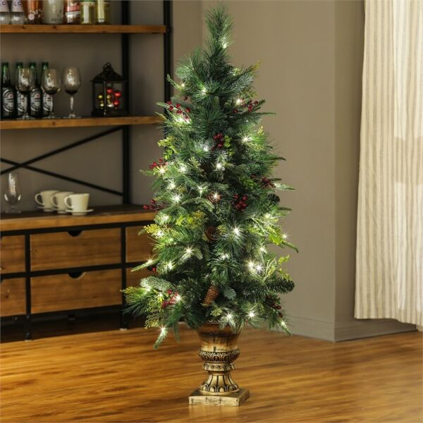Potted Christmas Trees For Sale: Winsome House 4ft. Pre-Lit Porch Artificial Christmas Tree