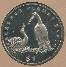 LIBERIA 1995 DOLLAR, C.N., KM#136, WHITE STORKS, BIRDS, PRESERVE PLANET EARTH
