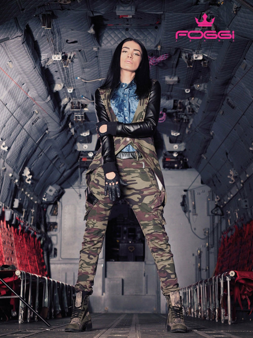 Foggi 2-Teiler Set Camouflage Jacke Bolero Boyfriendhose Lederlook Tarn Hose S-L