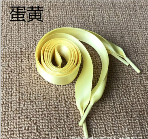120//80cm Women Girl Kids Silk Ribbon Flat Shoelaces Shoe Laces Sneaker Wholesale