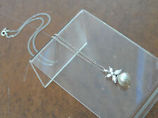 "GORGEOUS 16.5"" Marked Sterling Silver, C Z & Faux Pearl Necklace 2.7gr"