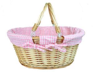 Natural Wicker Basket Pink Lining