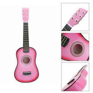 21-034-Kinder-Gitarre-Spielzeuggitarre-aus-Holz-in-Rosa-6-Saiten-Geschenk-Kit