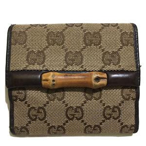 Gucci Bamboo Canvas Compact Wallet