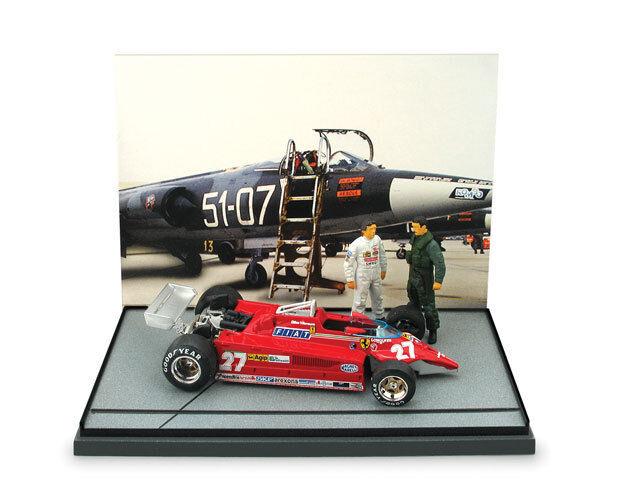 1 43 Diorama Brumm Ferrari 126 CK Turbo Gilles Villeneuve + Figure F104 1981