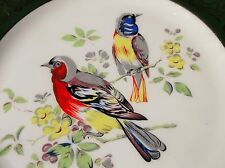 LARGE STUNNING CHINA DISPLAY PLATE BOLD HANDPAINTED EXOTIC BIRDS GREEN GILD RIM