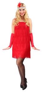 Charleston Kleid Rot Damen 20er Jahre Flapper Mafia Kostum Karneval