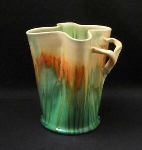 SIGNED-REMUED-AUSTRALIAN-POTTERY-BRANCH-TWIG-HANDLE-DRIP-GLAZE-VASE-EARLY-SERIES