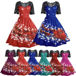 4a7695a8a879 Women's Girls Lace Santa Christmas Party Dresses Vintage Xmas Swing ...