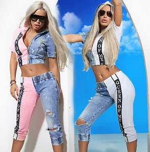 By-Alina-Mexton-Damen-Jeans-2-Teiler-Jeansjacke-Caprijeans-3-4-Hose-XS-M