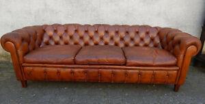 CHESTERFIELD SOFA COUCH 3 Sitzer cognac-braun LEDER Länge 210 cm