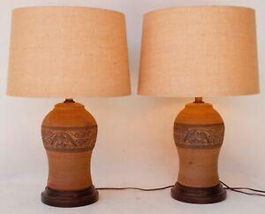 Vintage eléctrico Terracota Cerámica Lámparas Par De Firmada 67bgfy