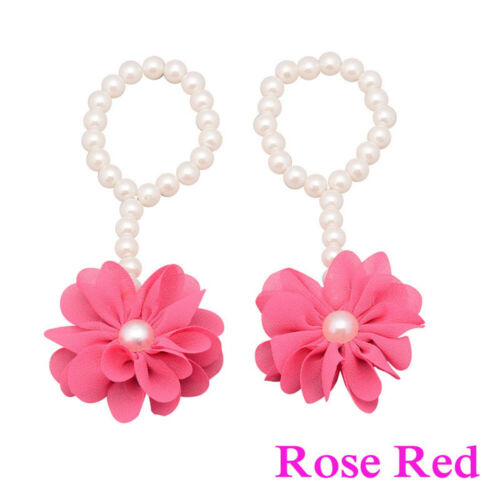 Cute Barefoot Sandals Girls Pearl Flower Toe Rings Baby Foot Band Ankle Chain