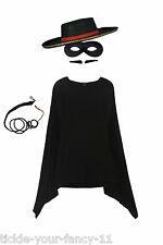 Mens Zorro Costume Kit Mask Cape Whip Tash Hat Fancy Dress Spanish Bull Fighter