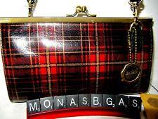 Patricia Nash Bianco Gold Foil Tartan Leather Crossbody Red /& Black Bag NWT $169