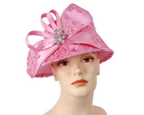 Pink Women/'s Church Derby Formal Dress Hats H885