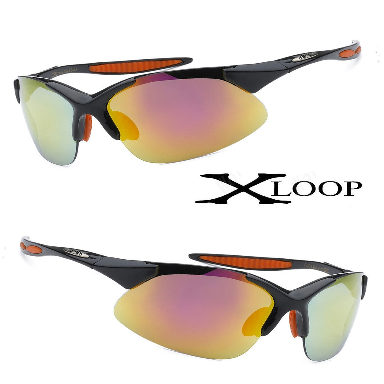 8459eaa5de Details about XLoop Mens Womens Sports Designer Sunglasses Semi Rimless  UV400 Black Frame Fire