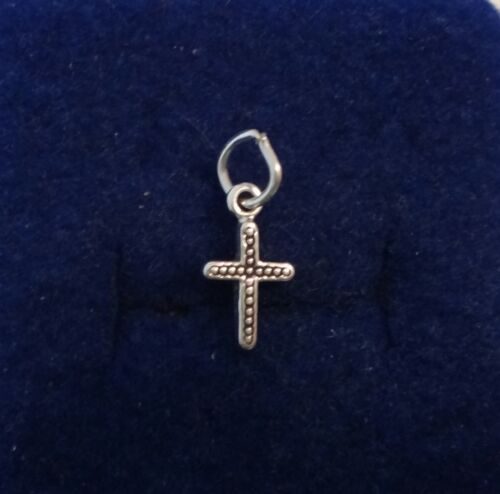 1 Sterling Silver Tiny 12x7mm Dots decorating Baby Cross Charm!