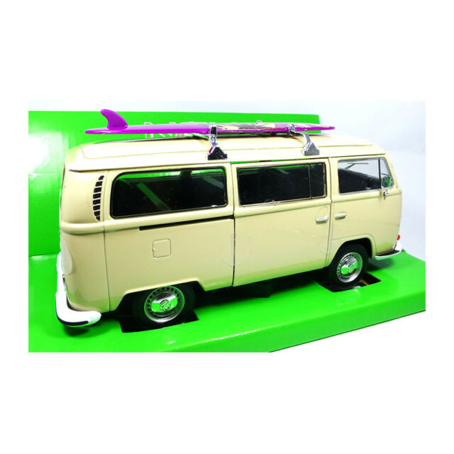 Welly 22472 VW T2 Bus Beige with Surfboard 1972 Scale 1:24 Model Car New! °