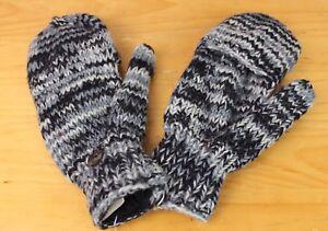 HAND-KNITTED Woollen Gloves Fleece Lined Mitten Wrist Warmer Ski Wool Glove